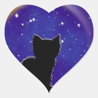 Star Gazing Cat Heart Sticker