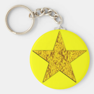 Star (gold nugget) basic round button key ring