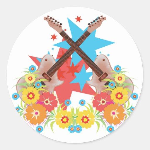 Star Guitar Flowers Round Stickers