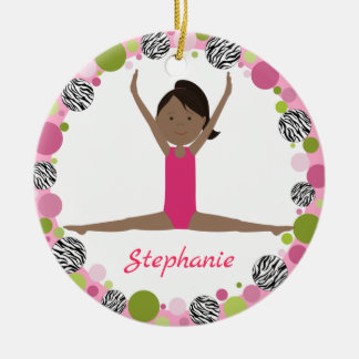 Star Gymnast Black Ponytail In Pinks Christmas Ornament