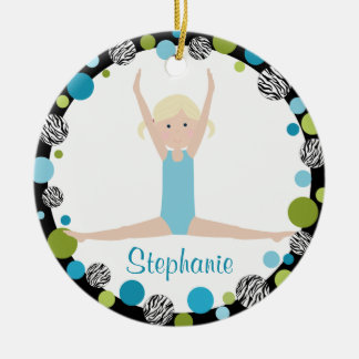 Star Gymnast Blonde in Aqua and Green Christmas Ornament