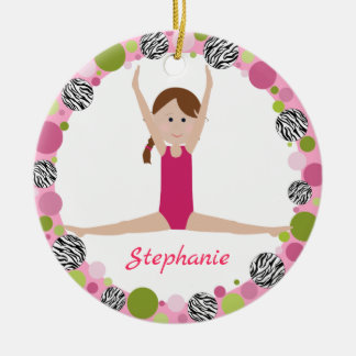 Star Gymnast Brown Braid in Pinks Christmas Ornament