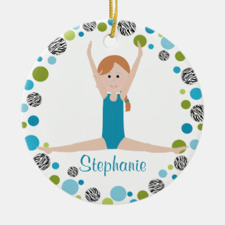 Star Gymnast in Aqua and Green Personalized Christmas Ornament