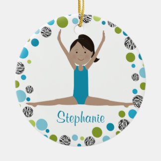 Star Gymnast in Aqua and Green Personalized Round Ceramic Decoration