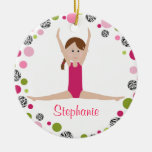 Star Gymnast in Pinks Personalised Round Ceramic Decoration