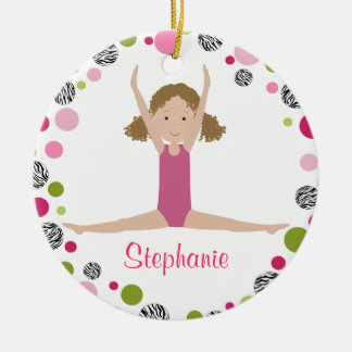 Star Gymnast in Pinks Personalized Christmas Tree Ornaments