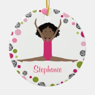 Star Gymnast in Pinks Personalized Round Ceramic Decoration