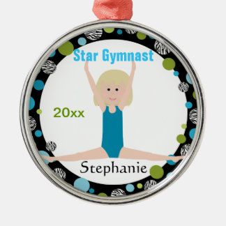 Star Gymnast Keepsake Aqua and Green Christmas Ornament