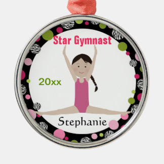 Star Gymnast Keepsake Pink and Green Christmas Ornament