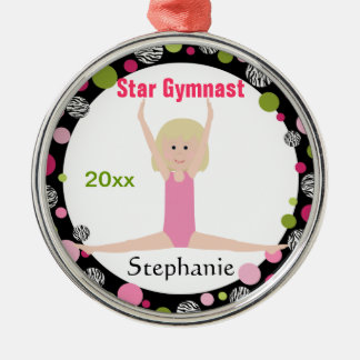 Star Gymnast Keepsake Pink and Green Christmas Ornament