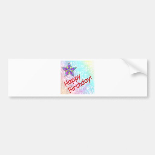 Star Happy Birthday Party Peace Colorful Destiny Bumper Stickers