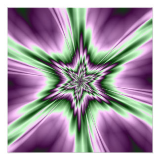Star in Purple and Green Photo Print
