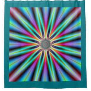 Star In Turquoise Blue And Pink Shower Curtain