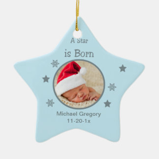 Star Is Born Personalized Photo Ornament (Blue)