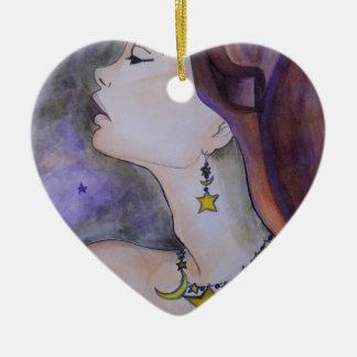 Star light star bright ceramic heart decoration