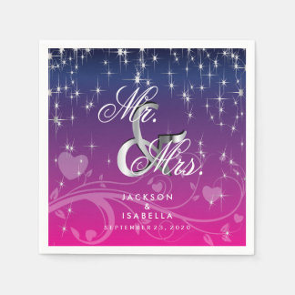 Star Lights in Dark Blue and Pink Disposable Napkins