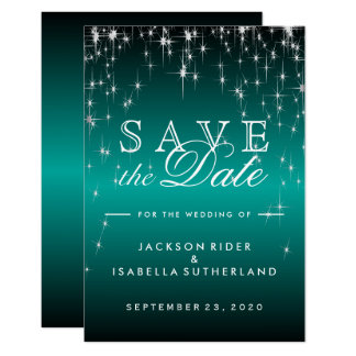 Star Lights in Metallic Teal - Save the Date Card