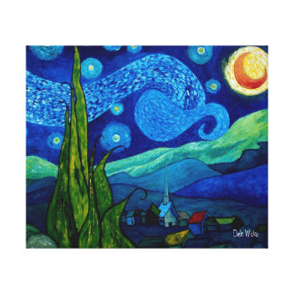 Star Lit Night Gallery Wrapped Stretched Canvas Print