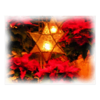 Star Luminaria Red Poinsettias Watercolor Postcard
