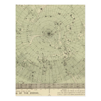 Star map of North polar region Postcard