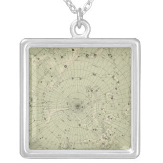 Star map of North polar region Silver Plated Necklace
