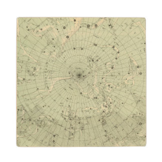Star map of North polar region Wood Coaster