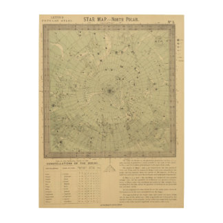 Star map of North polar region Wood Print