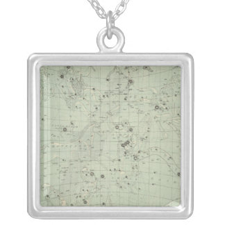 Star map silver plated necklace