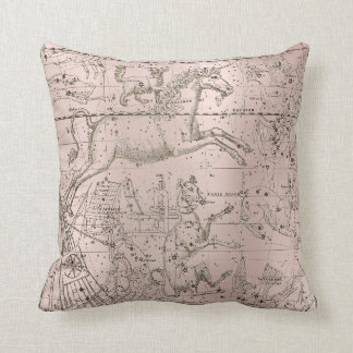 Star Map Unicorn Dog Canis Pink Rose Drawing Cushion