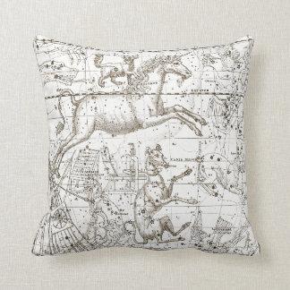 Star Map Unicorn Dog Canis Sepia White Drawing Cushion