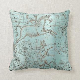 Star Map Unicorn Dog Canis Steel Aqua Water Ocean Cushion