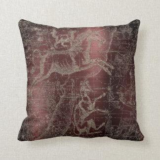 Star Map Unicorn Dog Canis Steel Burgundy Maroon Cushion