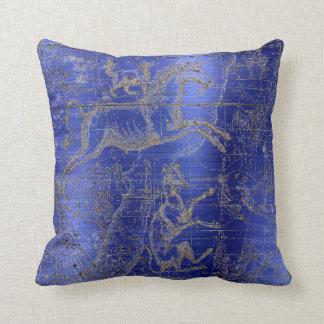 Star Map Unicorn Dog Canis Steel Cobalt Drawing Throw Pillow