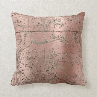 Star Map Unicorn Dog Canis Steel Pink Rose Gold Throw Pillow