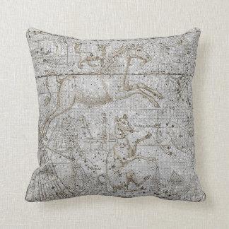 Star Map Unicorn Dog Canis Steel Pink Silver Gray Cushion