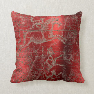 Star Map Unicorn Dog Canis Steel Red Drawing Throw Pillow