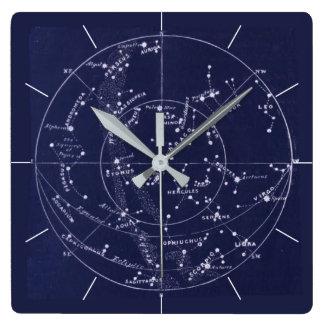 STAR MAP   Vintage deep blue night sky Wall Clock