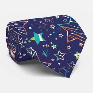 Star navy turquoise orange tie