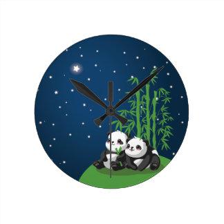 Star Night Panda Round Clock