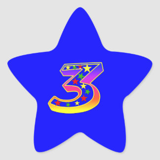 Star Number 3rd Birthday Party Sticker