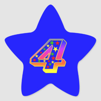 Star Number 4th Birthday Party Sticker