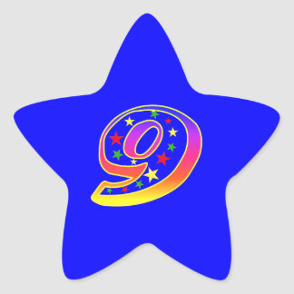 Star Number 9th Birthday Party Sticker