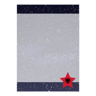 Star of Albania Flag 13 Cm X 18 Cm Invitation Card