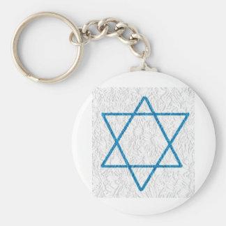 Star of Davi Basic Round Button Key Ring