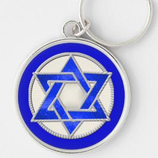 Star of David  מגן דוד Silver-Colored Round Key Ring