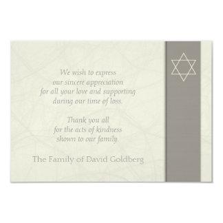 Star of David 2 Sympathy Thank You Flat Card 9 Cm X 13 Cm Invitation Card