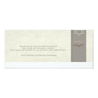 Star of David 3 Sympathy Thank You Flat Card 10 Cm X 24 Cm Invitation Card