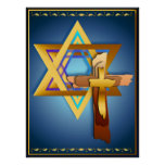 Star Of David and Triple Cross Poster