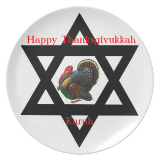 Star of David and Turkey Thanksgivukkah Plate