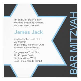 Star of David Bar Mitzvah - Blue & Grey Personalized Invites